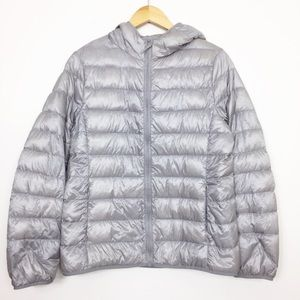 UNIQLO | Gray Down Puffer Zip Up Hooded Jacket LG